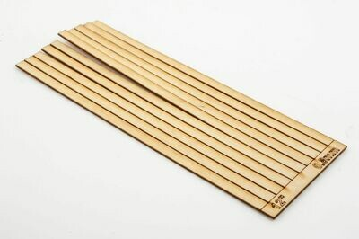 SLEEPER STRIPS TIMBER 4 MM 12' X 110 MM X 0.8 MM THIN SINGLE SPRUE OF 10