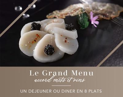 Le Grand Menu / Vins : un déjeuner ou dîner en 8 services et 6 verres de vin (pour 2 personnes)