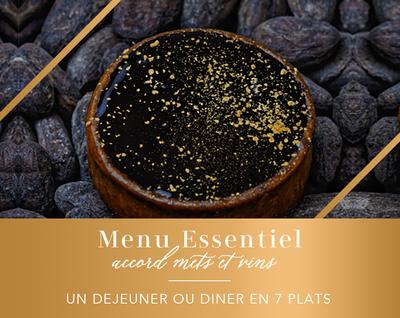 Menu Essentiel / Vins : un déjeuner ou dîner en 7 plats et 5 verres de vin (pour 2 personnes)