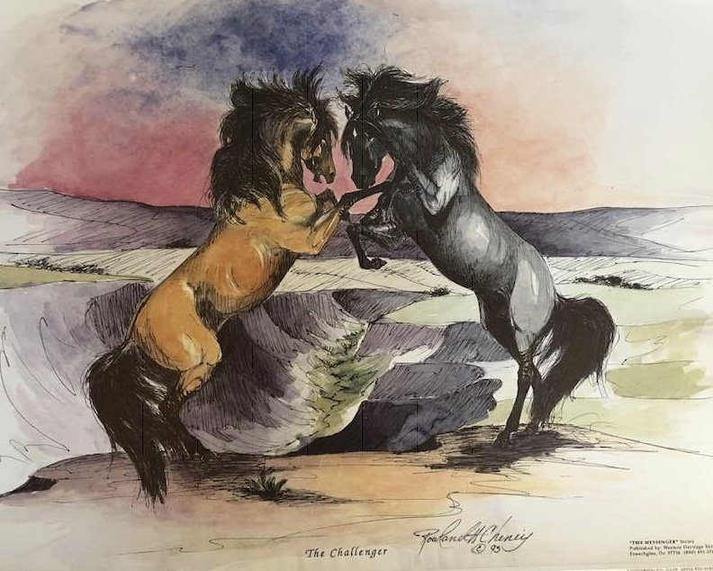 Mesteño (the famous original band stallion) Fighting the Grulla Stud.  Image created by Rowland Cheney for the Breyer company model