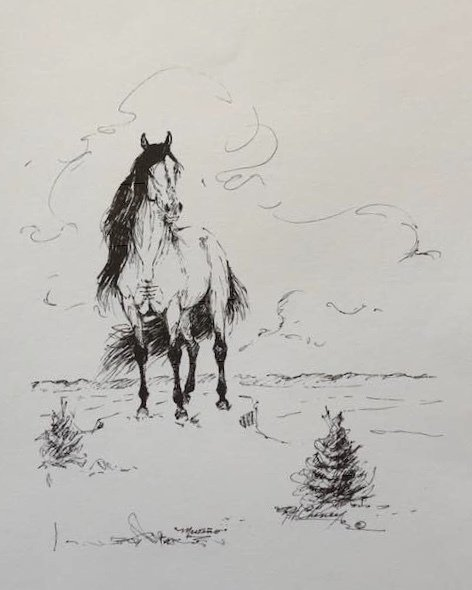 Mesteño (the famous wild band stallion) Signed sketch created by Rowland Cheney Title: The Legacy