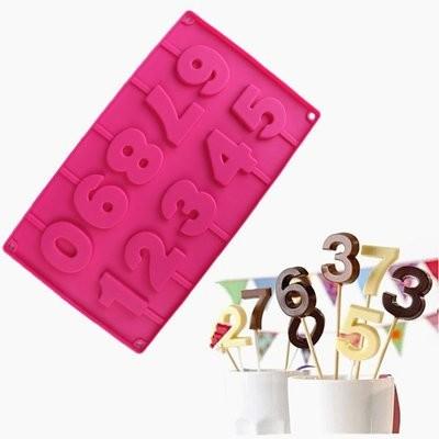 Форма для леденцов, шоколада, мастики 10 ячеек- высота 5см, 29х17х1 см цифры на палочках