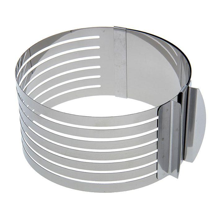 Форма-кольцо раздвижное с прорезями для выпечки и нарезки бисквита 16-19,5 см
