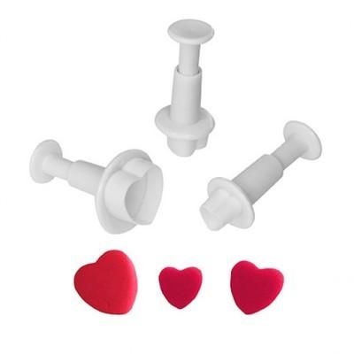 Набор плунжеров Сердечко малое 3 шт диаметр от 1,5 до 1 см