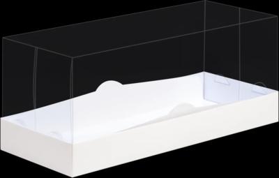 Упаковка для рулета белая с панорамной крышкой и подложкой 30х12х12 см