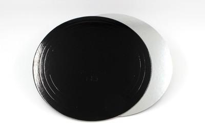 Подложка усиленная двусторонняя  серебро/черный 3,2 мм. Диаметр 26