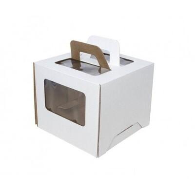 Коробка для торта 24х24х26 с ручками белая