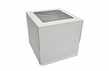 Коробка усиленная для торта гофрокартон с окном 35х35х35 см
