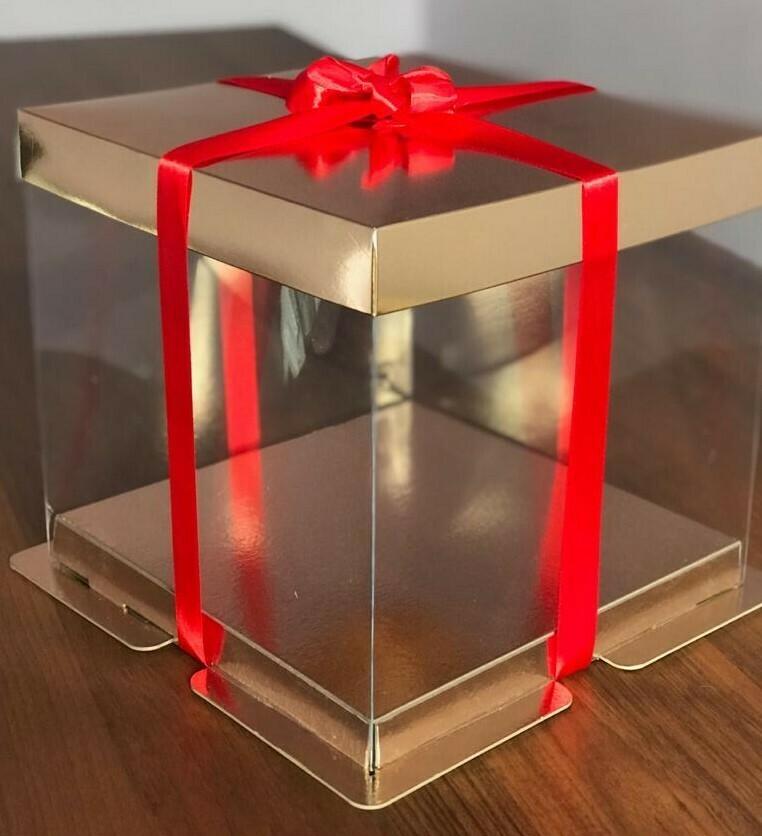 Коробка для торта Премиум прозрачная золото 34х34х30