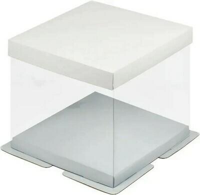 Коробка для торта Премиум прозрачная белая 23.5х23.5х22