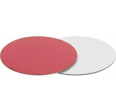 Подложка для торта двусторонняя (красная, серебро) d 26 см толщ. 2,5 мм