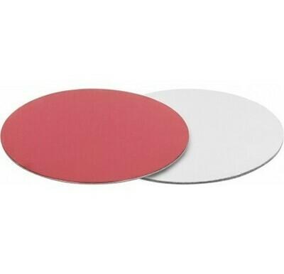 Подложка для торта двусторонняя (красная, серебро) d 28 см толщ. 2,5 мм