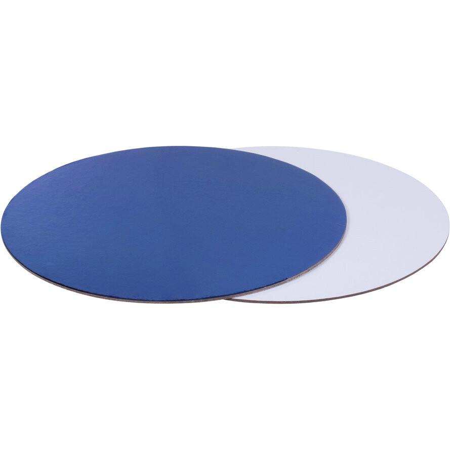 Подложка для торта двусторонняя (синяя, белая) d 28 см толщ. 2,5 мм