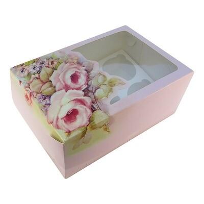 Коробка на 6 капкейков с окном Роза