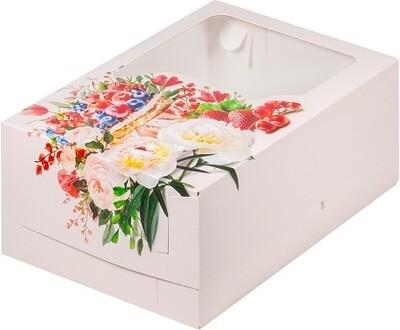 Коробка на 6 капкейков с окном Ягода