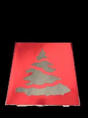 Коробка для торта с окошком Ёлка 30х30х19 красная