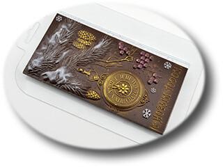 Форма для шоколада пластиковая Плитка Елка и часы