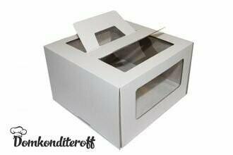 Коробка для торта 26х26х20 с ручками белая