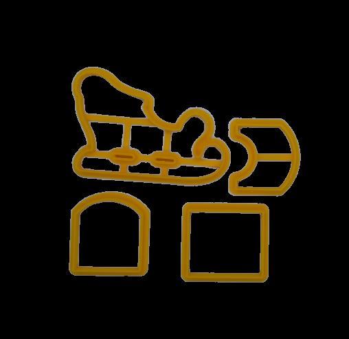 Форма для пряников 3-д Сани 4 части