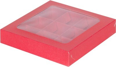 коробка для конфет с пластиковой прозрачной крышкой на 9 конфет красная 160х160х30
