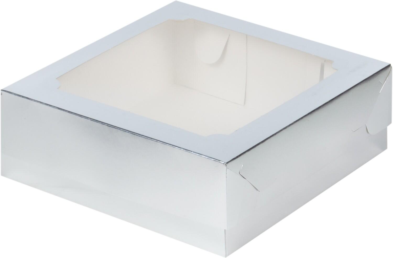 Упаковка для зефира с окном серебро 20х20х7 см