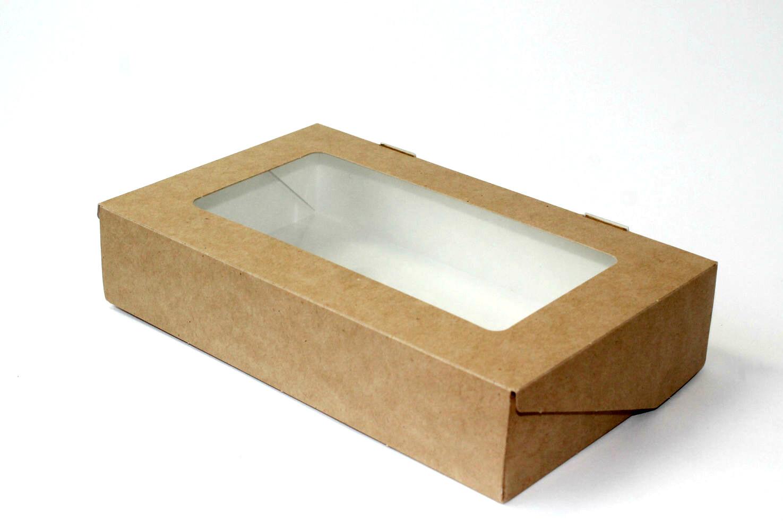 Коробка для пряников крафт/белый с окном. 20х12х4 см