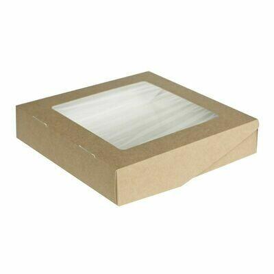 Коробка для пряников крафт/белый с окном. 20х20х4 см
