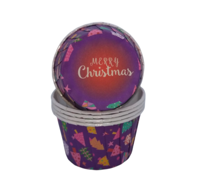 Капсула для капкейка усиленная Merry Christmas фиолетовая