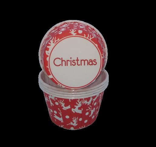 Капсула для капкейка усиленная  Christmas красная с оленями