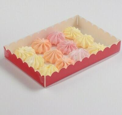 Коробочка для печенья 22х15х3.5 см красная