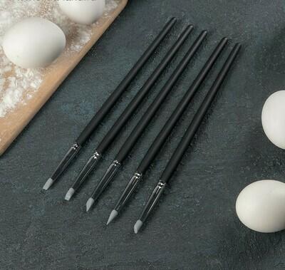 Набор силиконовых кисточек для декорирования «Оникс», 5 шт