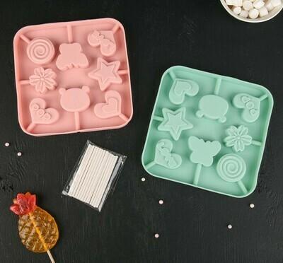 Форма для леденцов и мороженого 16×16×1,8 см «Сладость», 8 ячеек