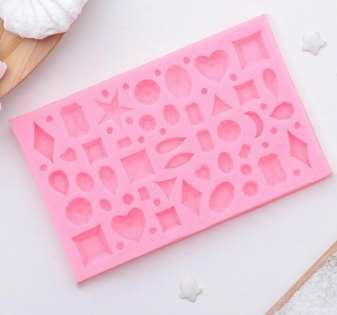Молд силиконовый для мастики, изомальта Драгоценные камни 11×7 см