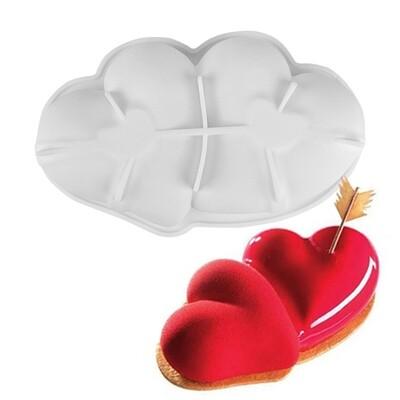 Форма для муссового торта Сердце двойное 27 см × 17 см × 6 см