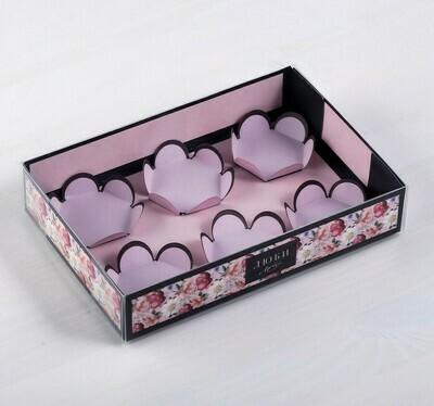 Коробка для 6 макаронс с подложками «Люби», 17 х 12 х 3 см
