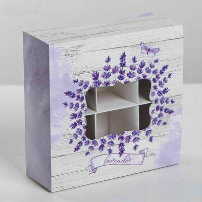 Коробка для конфет и макаронс Lavender, 6 ячеек 13 × 13 × 5 см