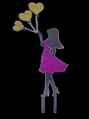 Топпер Девушка с шариками-сердечками. Цвет микс