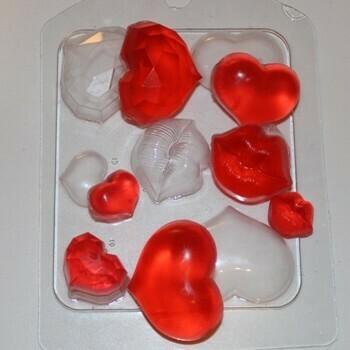 Форма пластиковая Сердечки-поцелуйчики