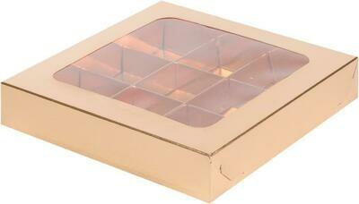коробка для конфет с пластиковой прозрачной крышкой на 9 конфет Золото 160х160х30