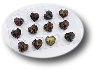 Пластиковая форма для шоколада конфеты Граненое Сердце (ширина 3см)