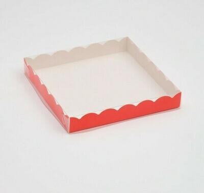 Коробочка для печенья 20х20х3 см красная