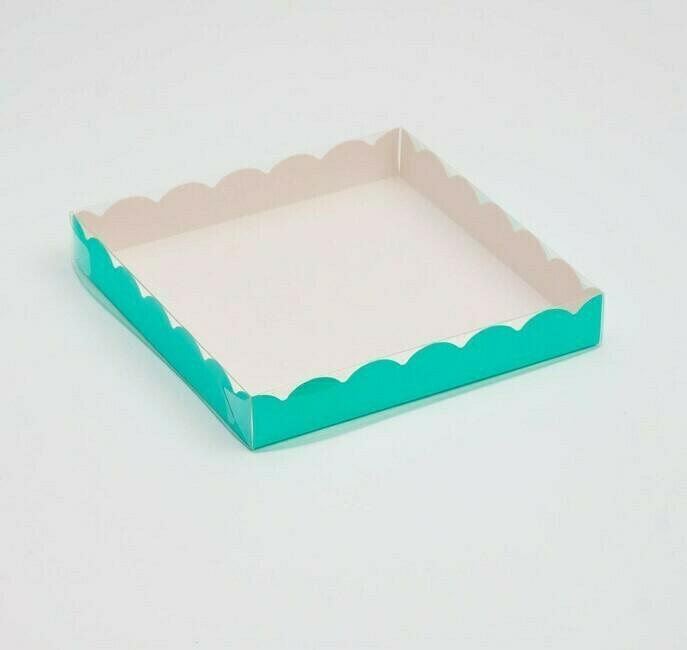 Коробочка для печенья 15х15х3 см мята