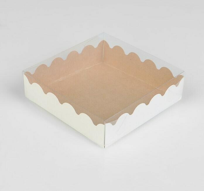 Коробочка для печенья 12х12х3 см крафт