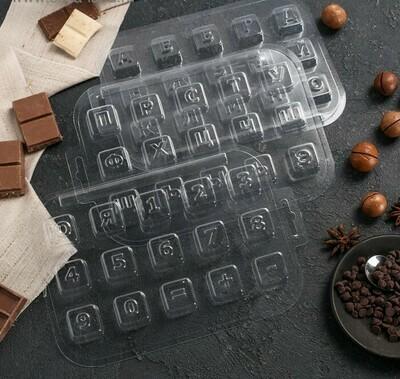 Набор форм для шоколада «Алфавит и цифры кубики», 3 шт