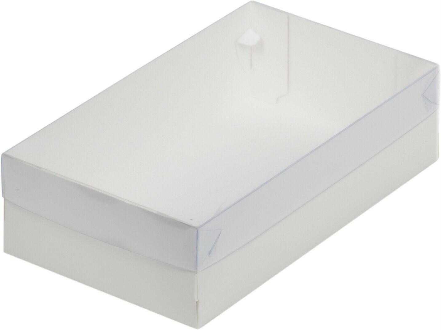 Коробка для зефира и пирожных с пластиковой крышкой 250*150*70 мм (белая)