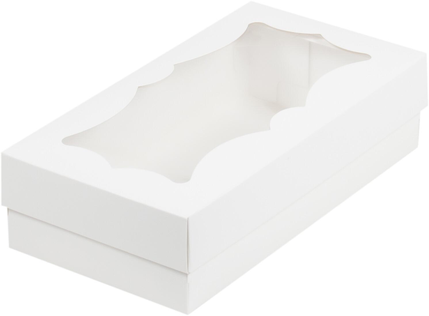 Коробка для макарон и зефира с фигурным окошком 210*100*55 мм (белая)