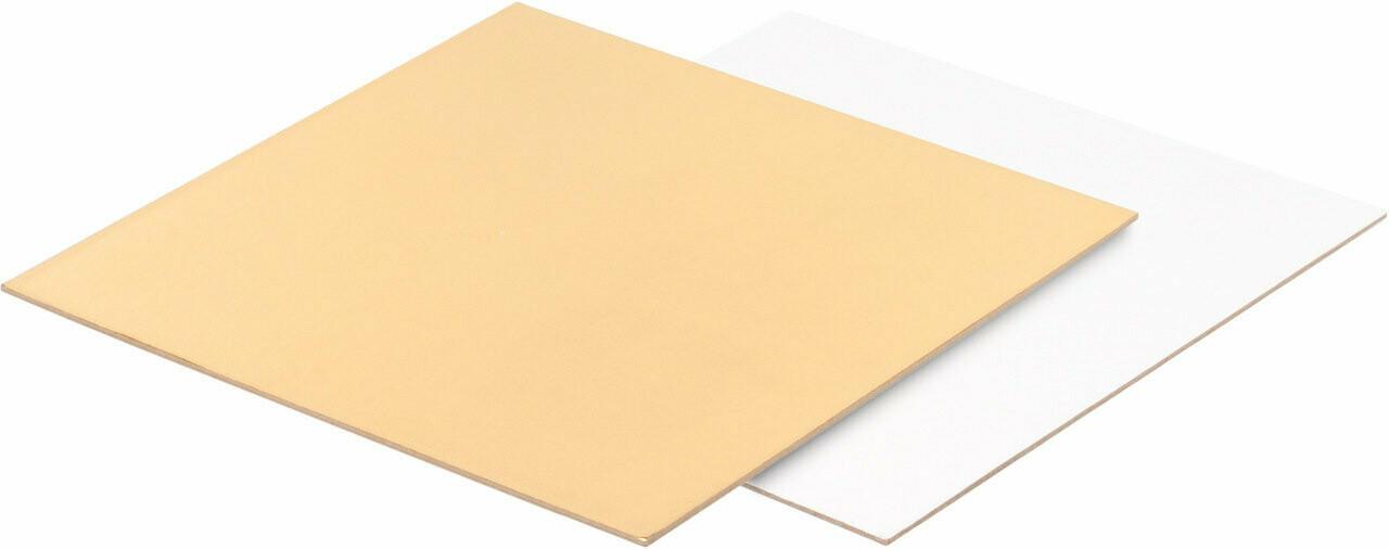 Подложка для торта цифры прямоугольная (золото, белая) 30*22 см толщ. 1,5 мм