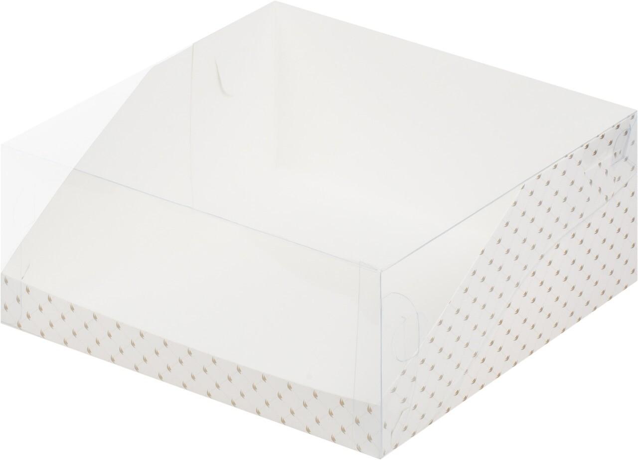 Коробка для торта Цифра. 310*235*100 (белая с птичками)