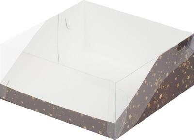 Коробка для торта Цифра. 310*235*100 (коричневая со звездами)