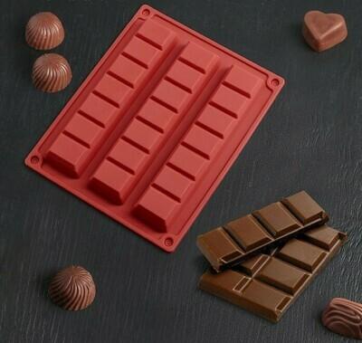 Форма для шоколада «Три батончика», 21×16,5 см, 3 ячейки (18×4 см)